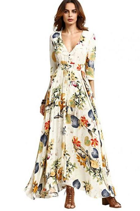 Boho Maxi Dress Women Summer Beach V Neck Short Sleeve Split Floral Printed Long Party Dress apricot half sleeve