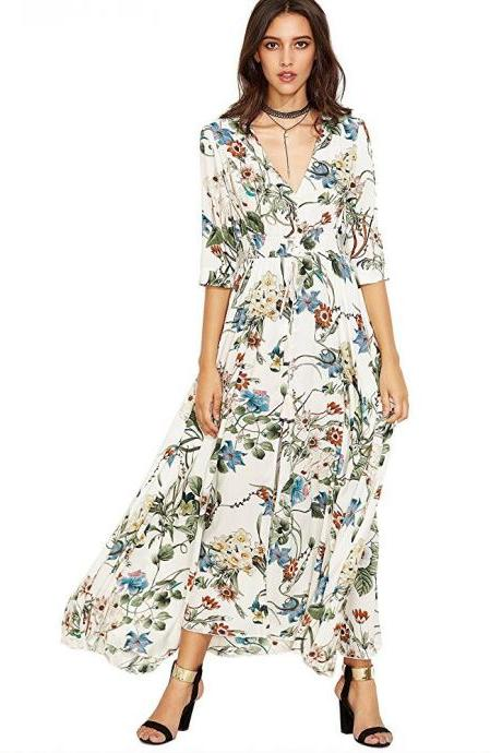 Boho Maxi Dress Women Summer Beach V Neck Short Sleeve Split Floral Printed Long Party Dress off white half sleeve
