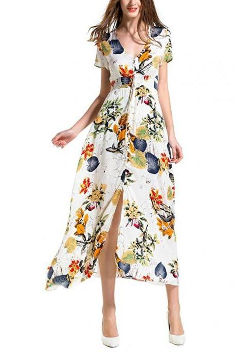 Boho Maxi Dress Women Summer Beach V Neck Short Sleeve Split Floral Printed Long Party Dress apricot short sleeve