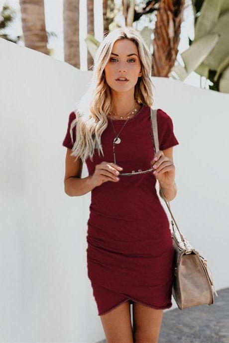 Women Asymmetrical Pencil Dress O Neck Summer Casual Short Sleeve Bodycon Mini Club Party Dress burgundy short sleeve