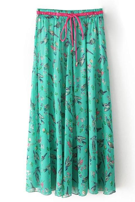 Boho Floral Print Maxi Skirt Summer Beach Women High Waist Casual Long Bohemian Skirt 5#