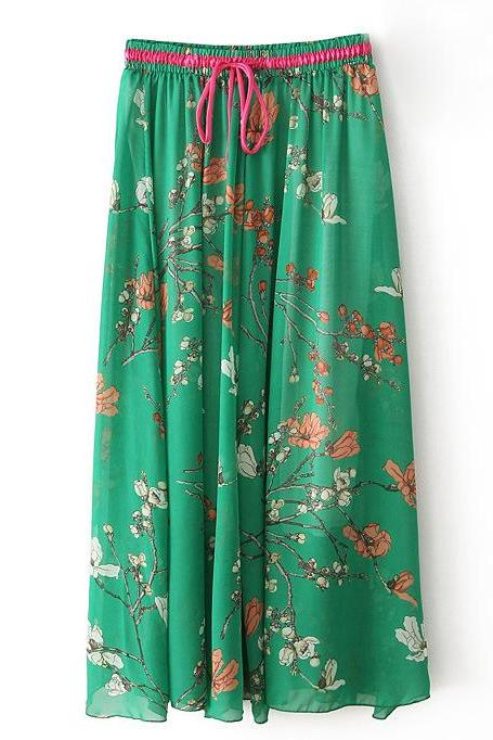 Boho Floral Print Maxi Skirt Summer Beach Women High Waist Casual Long Bohemian Skirt 7#