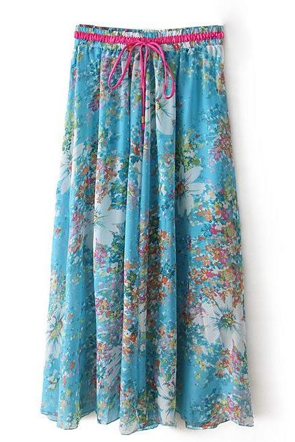 Boho Floral Print Maxi Skirt Summer Beach Women High Waist Casual Long Bohemian Skirt 9#