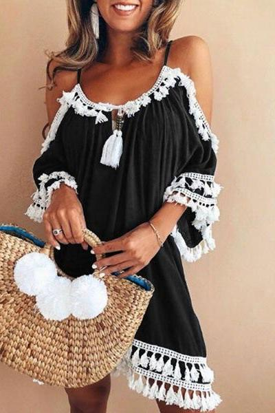 Boho Dress Spaghetti Strap 3/4 Sleeve Plus Size Summer Beach Loose Casual Tassel Women Mini Dress black