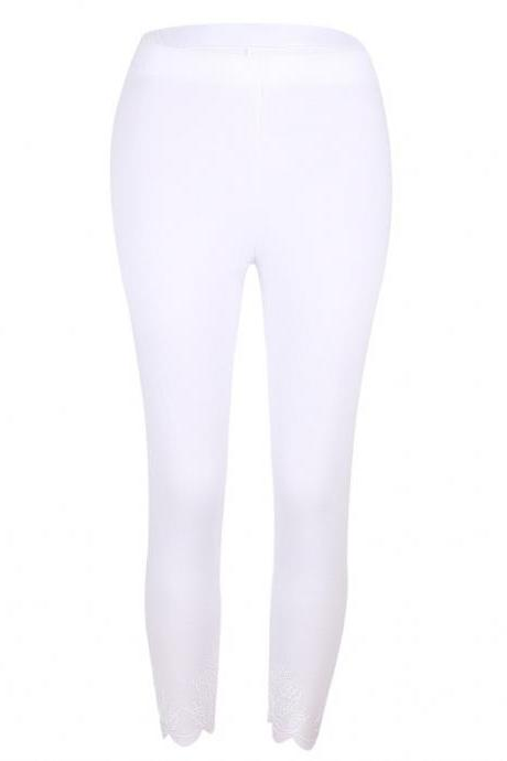 Women Leggings Floral Lace Hollow Out Slim Skinny Casual Plus Size Pencil Pants off white