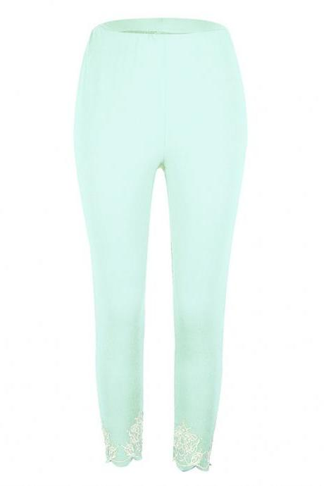 Women Leggings Floral Lace Hollow Out Slim Skinny Casual Plus Size Pencil Pants pale green