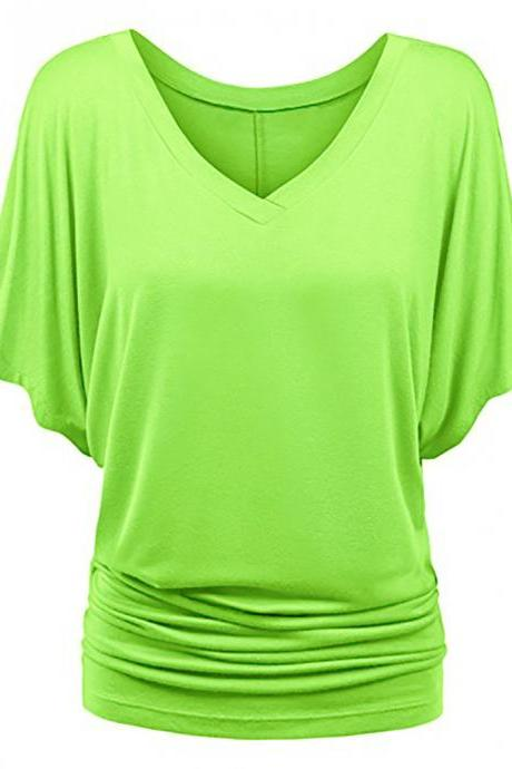 Women T Shirt V Neck Batwing Half Sleeve Oversized Summer Casual Loose Plus Size Tops lime green