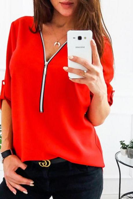 Women Blouses V Neck Zipper Long Sleeve Solid Summer Casual Loose Tops Shirt red