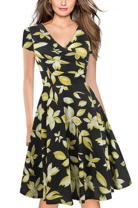 Women Floral Print Casual Dress V Neck Short Sleeve Work Business Office A Line Party Dress 6#