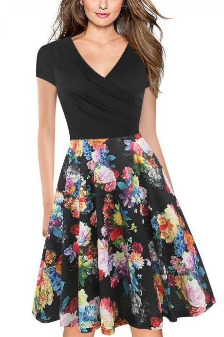 Women Floral Print Casual Dress V Neck Short Sleeve Work Business Office A Line Party Dress 14#