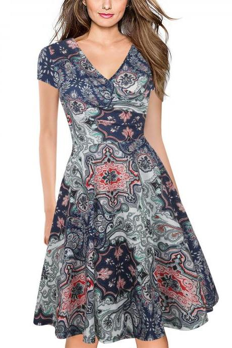 Women Floral Print Casual Dress V Neck Short Sleeve Work Business Office A Line Party Dress 19#