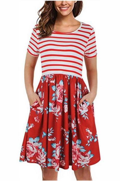 Women Floral Printed Casual Dress Short Sleeve Striped Patchwork Pocket Summer Beach Boho Dress red