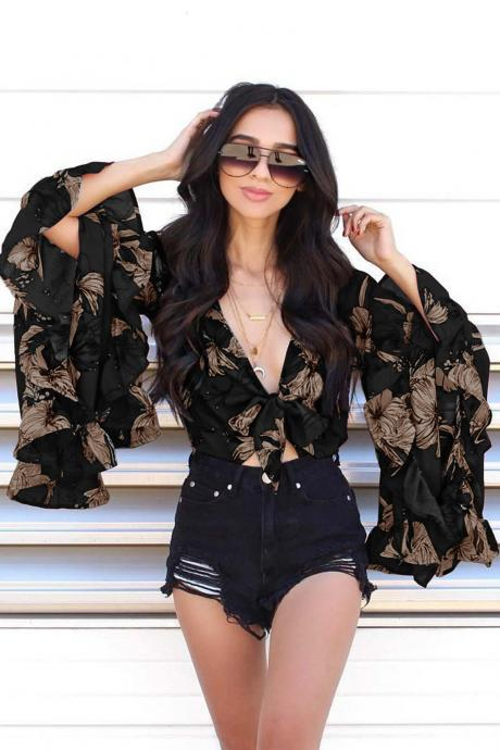 Women Floral Printed Crop Tops Ruffle V Neck Flare Long Sleeve Bow Tie Summer Beach Blouses black