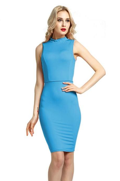Women Pencil Dress Open Back High Neck Sleeveless Casual Bodycon Short Club Party Dress blue