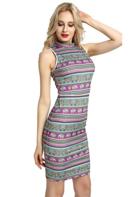 Women Pencil Dress Open Back High Neck Sleeveless Casual Bodycon Short Club Party Dress purple