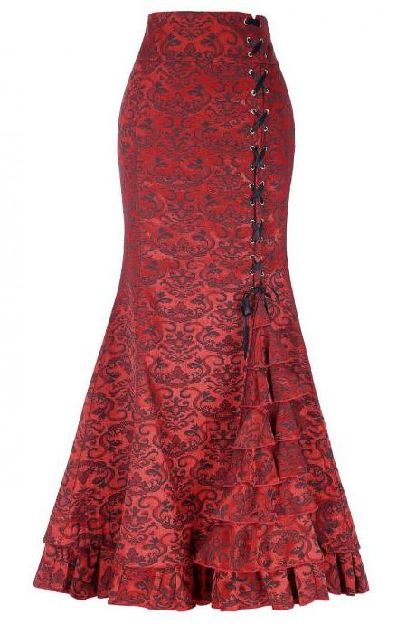 Gothic Mermaid Skirt Sexy Lace-Up Floor-Length Women Maxi Skirt Vintage Fishtail Long Steampunk Skirt red