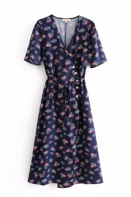 Boho Floral Printed Wrap Dress Button V Neck Short Sleeve Summer Beach Casual Dress navy blue floral