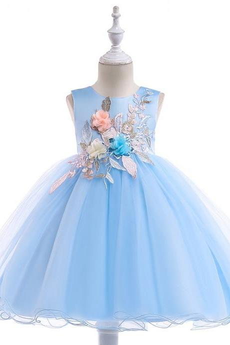 Embroidery Flower Girl Dress Formal Birthday Party Tutu Gown Kids Children Clothes sky blue
