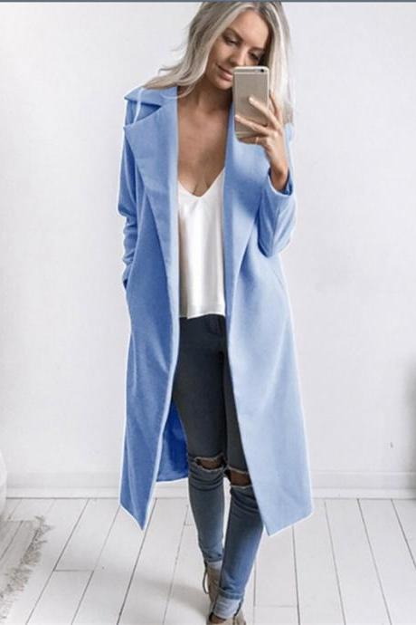 Autumn Winter Women Woolen Long Coat Long Sleeve Pockets Slim Casual Jackets Overcoat blue