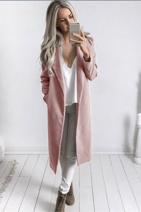 Autumn Winter Women Woolen Long Coat Long Sleeve Pockets Slim Casual Jackets Overcoat pink