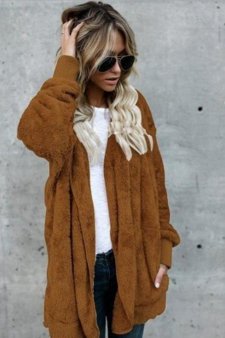 Women Faux Fur Coat Winter Long Sleeve Hooded Warm Fluffy Cardigan Jacket Overcoat camel