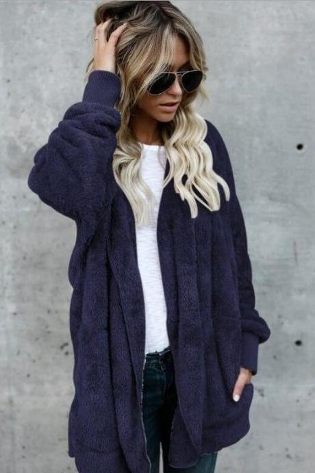 Women Faux Fur Coat Winter Long Sleeve Hooded Warm Fluffy Cardigan Jacket Overcoat dark blue