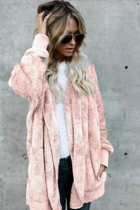 Women Faux Fur Coat Winter Long Sleeve Hooded Warm Fluffy Cardigan Jacket Overcoat pink