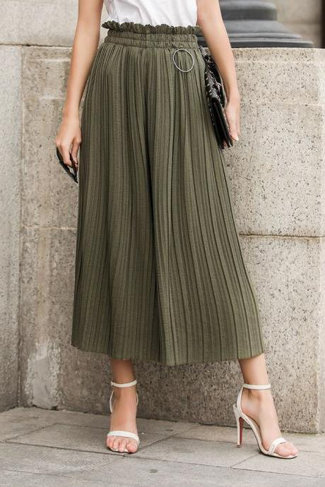 Women Wide Leg Pants High Waist Solid Summer Casual Loose Pleated Trousers army green