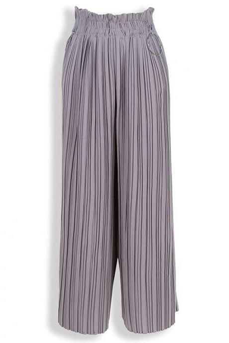 Women Wide Leg Pants High Waist Solid Summer Casual Loose Pleated Trousers gray