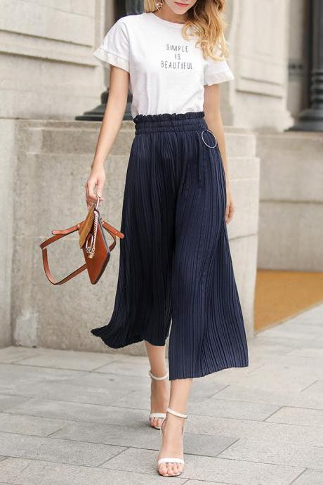 Women Wide Leg Pants High Waist Solid Summer Casual Loose Pleated Trousers navy blue