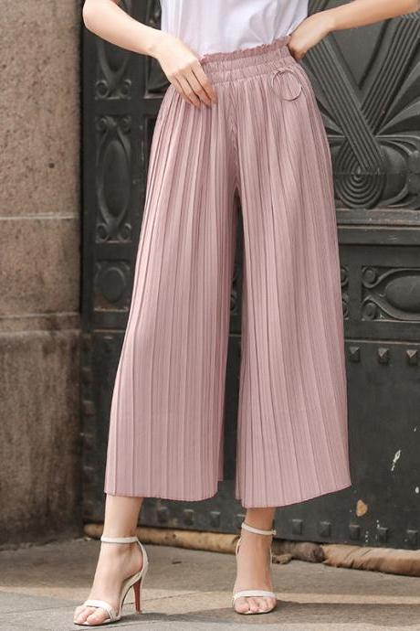 Women Wide Leg Pants High Waist Solid Summer Casual Loose Pleated Trousers pink