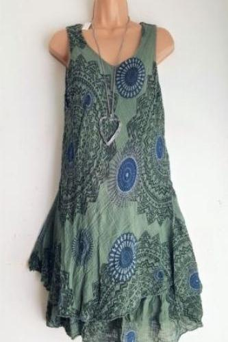 Women Floral Printed Mini Dress Summer Sleeveless Plus Size A Line Boho Beach Sundress green as pic