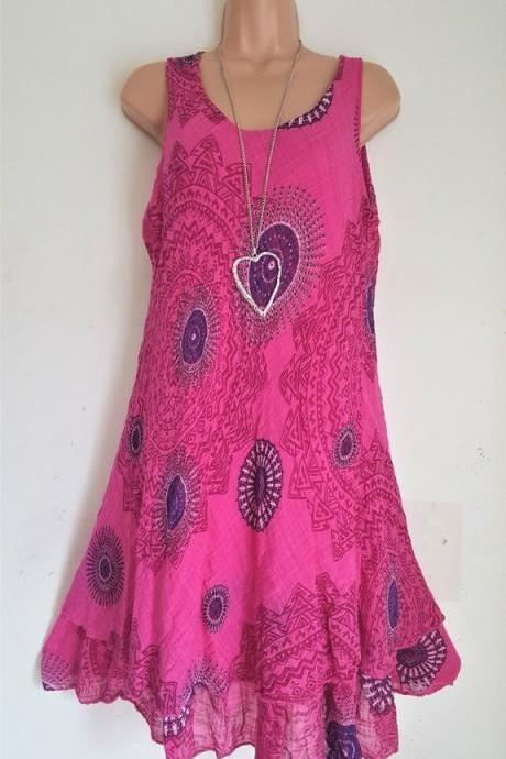 Women Floral Printed Mini Dress Summer Sleeveless Plus Size A Line Boho Beach Sundress hot pink