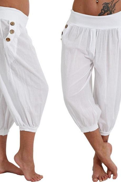 Women Aladdin Harem Pants Elastic Waist Plus Size Calf-Length Sportwear Workout Summer Casual Loose Capri Trousers off white