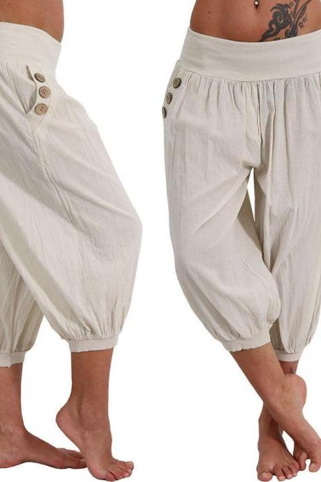 Women Aladdin Harem Pants Elastic Waist Plus Size Calf-Length Sportwear Workout Summer Casual Loose Capri Trousers beige