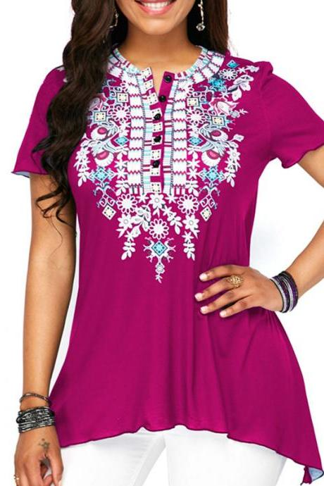 Women Floral Printed T Shirt Button Short Sleeve Summer Casual Plus Size Loose Tee Tops hot pink