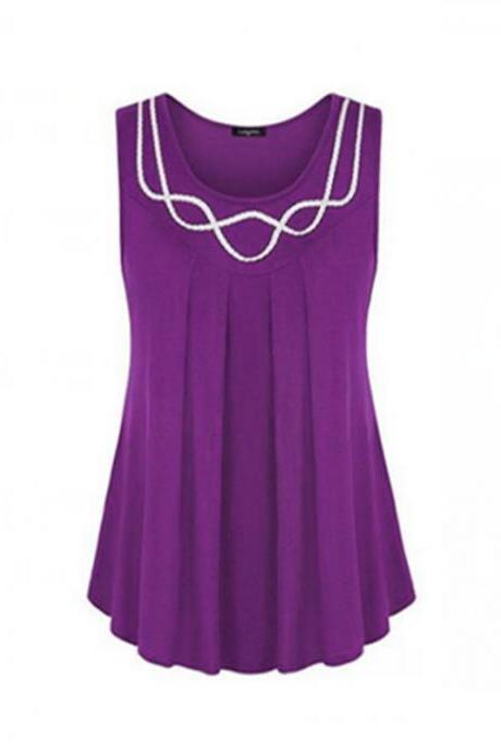 Women Tank Tops Summer Casual O Neck Loose Plus Size Sleeveless T Shirt Blouse purple
