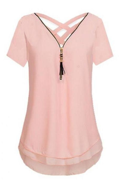 Women T Shirt Zipper Cross V Neck Short Sleeve Summer Casual Plus Size Slim Tee Tops pink