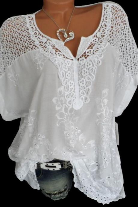 Women Lace T Shirt Embroidery V Neck Short Sleeve Summer Casual Plus Size Loose Tops off white