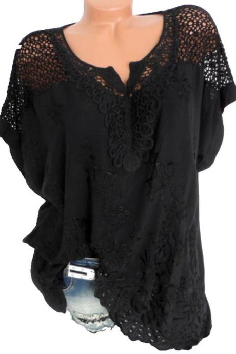 Women Lace T Shirt Embroidery V Neck Short Sleeve Summer Casual Plus Size Loose Tops black