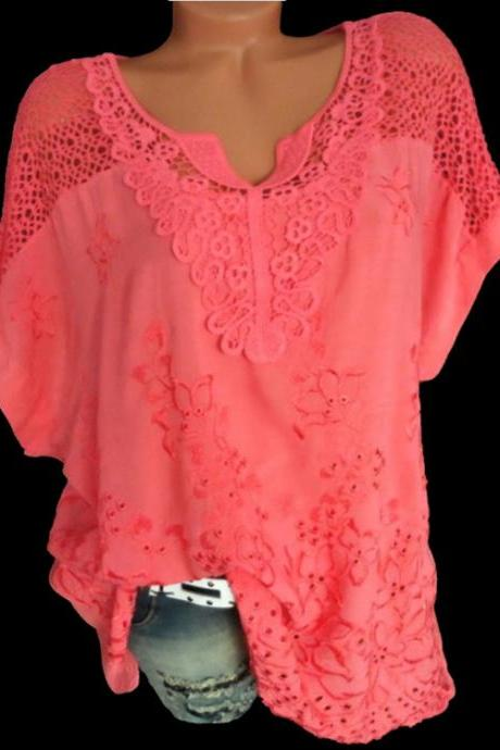 Women Lace T Shirt Embroidery V Neck Short Sleeve Summer Casual Plus Size Loose Tops red