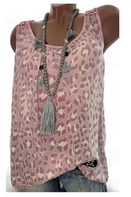 Women Leopard Tank Tops Summer Loose Plus Size Casual Sleeveless Vintage T-shirt pink