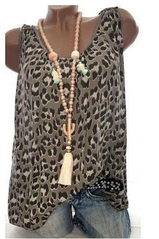 Women Leopard Tank Tops Summer Loose Plus Size Casual Sleeveless Vintage T-shirt coffee
