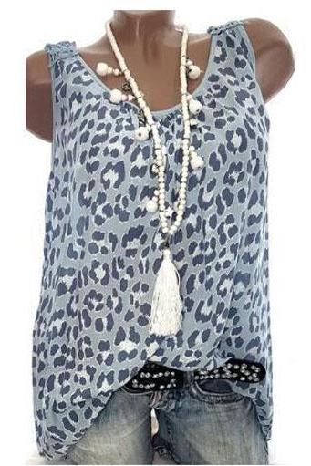 Women Leopard Tank Tops Summer Loose Plus Size Casual Sleeveless Vintage T-shirt light blue