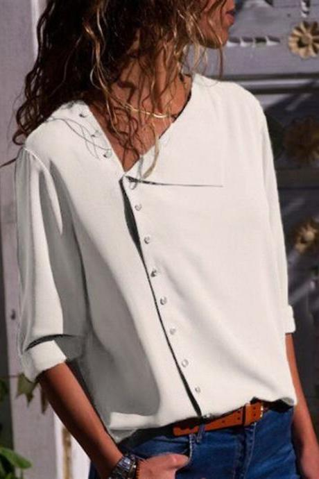 Women Blouse Skew Collar Button Long Sleeve Streetwear Casual Work Loose Top Shirt off white