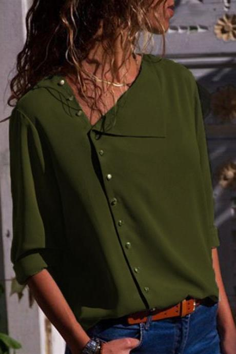 Women Blouse Skew Collar Button Long Sleeve Streetwear Casual Work Loose Top Shirt army green