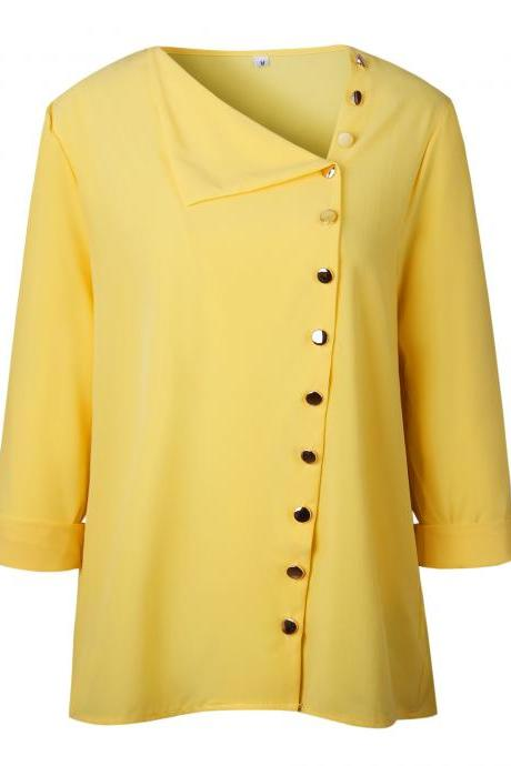 Women Blouse Skew Collar Button Long Sleeve Streetwear Casual Work Loose Top Shirt yellow