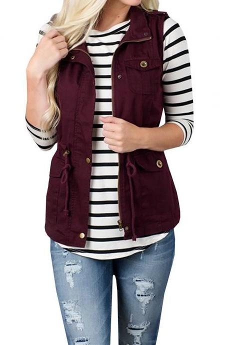 Women Waistcoat Fashion Pocket Buttons Casual Sleeveless Vest Cost Jacket Outwear burgundy