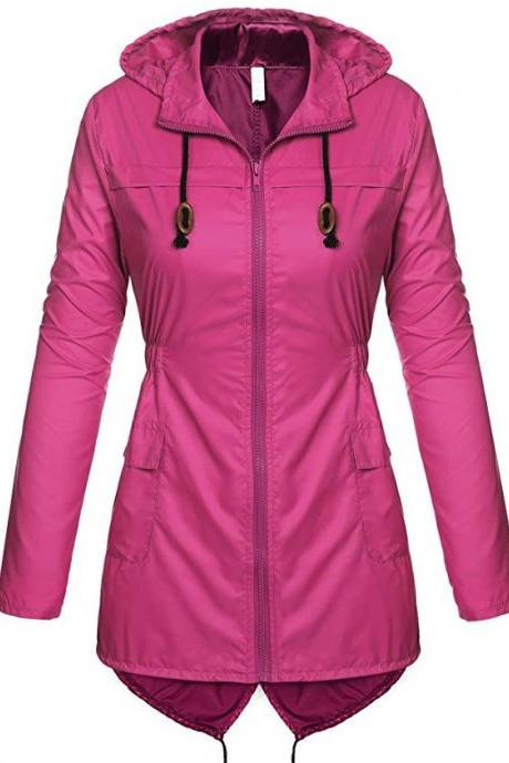 Women Raincoat Spring Autumn Hooded Long Sleeve Slim Fit Casual Waterproof Coat Jacket hot pink