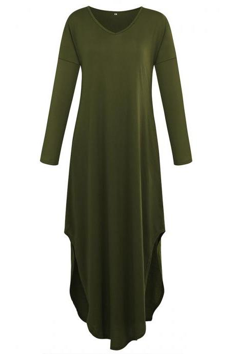 Women Asymmetrical Maxi Dress V Neck Long Sleeve Summer Split Casual Long T Shirt Dress army green